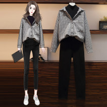 shirt Black pants Plaid Shirt Large L XL 2XL 3XL 4XL Spring 2021 other 96% and above Long sleeves commute Regular Polo collar routine lattice 18-24 years old Wang Huiqian Korean version Real shot 2655# Button Other 100%