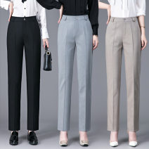 Suit pants / suit pants 26,27,28,29,30,31,32,33,34 Black, gray, khaki Spring 2021 Straight cylinder High waist trousers 30-34 years old 51% (inclusive) - 70% (inclusive) zipper Cotton blended fabric OL