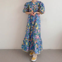 Dress Summer 2021 Yellow blue Average size Mid length dress singleton  Short sleeve commute Crew neck Loose waist Decor Socket Big swing puff sleeve Others 18-24 years old Floating Fu posture Korean version Lotus leaf edge 31% (inclusive) - 50% (inclusive) polyester fiber Polyester 31 %  Others 69 %