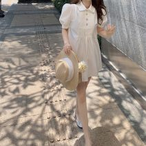 Women's large Summer 2020 White, pink, no reason to return in seven days S,M,L,XL singleton  commute Short sleeve Solid color Korean version Polo collar other puff sleeve Other 18-24 years old 71% (inclusive) - 80% (inclusive)