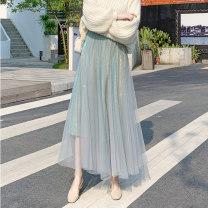 skirt Summer 2021 S,M,L,XL Blue, apricot, gray, black, caramel Mid length dress commute High waist Pleated skirt lattice Type A 18-24 years old 31% (inclusive) - 50% (inclusive) Wool Ocnltiy pocket 401g / m ^ 2 (inclusive) - 500g / m ^ 2 (inclusive)
