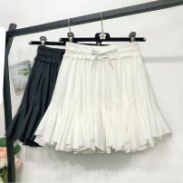skirt Summer 2021 Average size Black with anti light lining, white with anti light lining Short skirt Versatile High waist Irregular Solid color Type A 18-24 years old Chiffon Ocnltiy polyester fiber