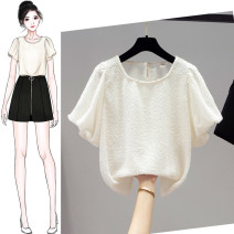 Lace / Chiffon Summer 2021 white S,M,L,XL Short sleeve commute Socket singleton  easy Regular square neck Solid color puff sleeve Ocnltiy Ruffles, stitching Korean version