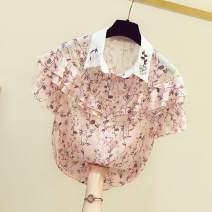 Lace / Chiffon Summer 2021 Pink S,M,L,XL Short sleeve commute Socket singleton  easy Regular Doll Collar Decor Lotus leaf sleeve 25-29 years old Ocnltiy 81% (inclusive) - 90% (inclusive)