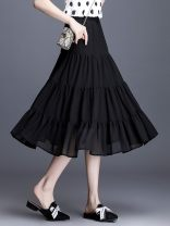 skirt Summer 2020 19 / S 1 foot 9,20 / M 2 foot, 21 / L 2 foot 1,22 / XL 2 foot 2,23 / 2XL 2 foot 3,24 / 3XL 2 foot 4,25 / 4XL 2 foot 5 20069 - black, 20197 - wave point, no reason to return or exchange in seven days longuette commute High waist A-line skirt Solid color Type A ZA20A218801 fold