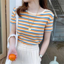 T-shirt Orange pink green M L XL 2XL Summer 2021 Short sleeve Crew neck Self cultivation have cash less than that is registered in the accounts routine Sweet other 96% and above 18-24 years old youth Thin horizontal stripe A woman dxtw printing Other 100% Pure e-commerce (online only) college