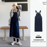 Dress Winter 2020 navy blue S,M,L Mid length dress singleton  Sleeveless commute High waist Solid color Socket A-line skirt straps Type A Other / other Korean version Pockets, straps, buttons 91% (inclusive) - 95% (inclusive) Denim