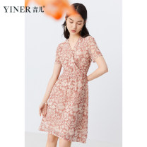 Dress Summer 2021 Pink 36,38,40,42,44,46 Middle-skirt Short sleeve commute V-neck middle-waisted Socket Big swing routine 30-34 years old Type X Sound Ol style Lace polyester fiber