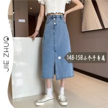 skirt Summer 2021 S M L XS wathet Mid length dress commute High waist A-line skirt Solid color Type A 18-24 years old More than 95% Denim Jie Zhuo other Korean version Other 100%
