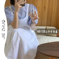Dress Summer 2021 White strap Skirt Blue strap skirt XS S M longuette singleton  Sleeveless commute square neck Loose waist Solid color Socket Big swing 18-24 years old Type A Jie Zhuo Korean version 1205/1206# More than 95% other Other 100%
