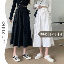 skirt Summer 2021 XS S M White black Mid length dress Sweet Natural waist A-line skirt Solid color Type A 18-24 years old 1631# More than 95% Jie Zhuo other bow Other 100% Mori