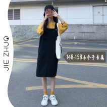 Dress Winter 2016 Black dress S M L XS Middle-skirt singleton  Sleeveless commute square neck Loose waist Solid color Socket straps 18-24 years old Type H Jie Zhuo Korean version More than 95% other Other 100%