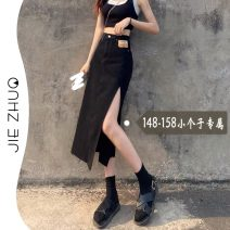 skirt Summer 2021 S M L XS black Mid length dress commute High waist Denim skirt Solid color Type A 18-24 years old eight thousand and twenty-seven - one More than 95% Jie Zhuo other Korean version Other 100%