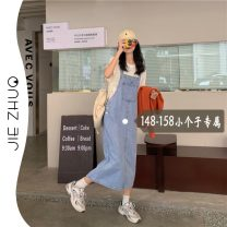 Dress Summer 2021 blue S M L XS Mid length dress singleton  Sleeveless commute square neck middle-waisted Solid color Socket straps 18-24 years old Type H Jie Zhuo Korean version More than 95% other other Other 100%