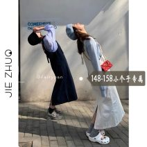 Dress Summer 2021 White, dark blue XS S M L longuette singleton  Sleeveless commute Loose waist Solid color Socket A-line skirt straps 18-24 years old Type H Jie Zhuo Korean version pocket Spot 6668 More than 95% other Other 100%