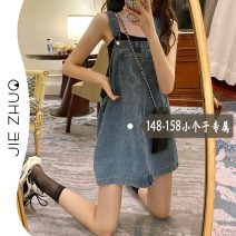 Dress Summer 2021 Denim blue XS S M Miniskirt singleton  Sleeveless commute High waist Solid color straps 18-24 years old Type A Jie Zhuo Korean version 8106# More than 95% other Other 100%