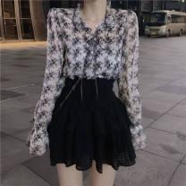 Family clothes for parents and children S 80-90kg, m 90-100kg, l 100-110kg, XL 110-125kg other [suit] Floral Top + black skirt, [single] floral top, [single] black skirt, white shirt