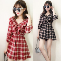 Casual pants Red check 3 / 4 sleeve, black check 3 / 4 sleeve S,M,L,XL,2XL Spring 2021 shorts Jumpsuit High waist commute routine 18-24 years old 51% (inclusive) - 70% (inclusive) Korean version Button