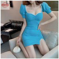 Dress Winter 2020 Blue, yellow S,M,L Short skirt singleton  Short sleeve puff sleeve Splicing