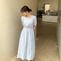 Dress Summer 2021 The sky is blue, the cherry grass is yellow and the fog is purple S,M,L singleton  Short sleeve commute V-neck Solid color puff sleeve 25-29 years old Summer press XT2112510 other