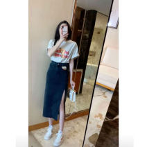 Fashion suit Summer 2021 S M L XL White T-shirt + denim skirt 18-25 years old Kunellin Polyester 100% Pure e-commerce (online only)