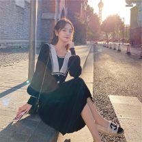 Dress Winter 2020 Black, apricot, medium length / French / small / long sleeve / flower / skirt, suit / design / niche / literature / winter /, tea break / small / fragrant / autumn / autumn / lazy / study, forest / Royal sister / light ripe wind / light luxury / Fairy / East S,M,L,XL singleton