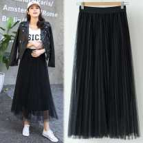skirt Spring 2021 longuette commute High waist Pleated skirt Dot Type A 25-29 years old - 30% and below Poplin polyester fiber Gauze 40g / m ^ 2 and below