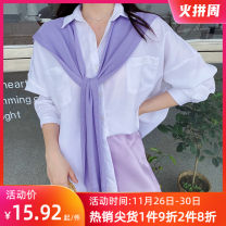 Scarf / silk scarf / Shawl polyester spring and autumn female Shawl decorate Korean version rectangle youth Solid color two-sided 46cm 105cm More than 96% Other / other WJ2004013