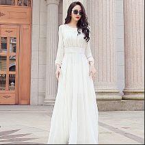 Dress Spring 2021 White, red M,L,XL,2XL,3XL longuette singleton  Long sleeves Petal sleeve Other