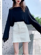 skirt Summer 2020 25,26,27,28,29,30,31 Black, apricot Short skirt Versatile High waist A-line skirt Solid color Type A 18-24 years old 91% (inclusive) - 95% (inclusive) Denim Other / other cotton Button
