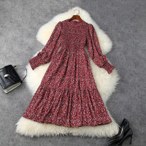 Dress Spring 2021 claret S,M,L,XL longuette singleton  Long sleeves commute Crew neck High waist Broken flowers zipper A-line skirt pagoda sleeve Others 30-34 years old Type A Retro Printing, splicing T11788 More than 95% Chiffon other