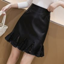 skirt Autumn 2020 S,M,L,XL,2XL black Middle-skirt Versatile High waist Ruffle Skirt Solid color Type A 25-29 years old More than 95% other Other / other other Lace 351g / m ^ 2 (including) - 400g / m ^ 2 (including)