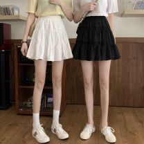 skirt Spring 2021 S,M,L White, black Short skirt Versatile High waist Cake skirt Solid color Type A 18-24 years old 0127-0004 91% (inclusive) - 95% (inclusive) Other / other polyester fiber