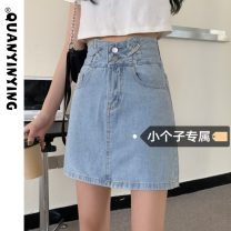 skirt Summer 2021 S M L XS blue Short skirt commute High waist A-line skirt Solid color Type A 18-24 years old More than 95% Quan Yin Ying other Make old Korean version Other 100% Pure e-commerce (online only)