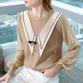 Wool knitwear Spring 2021 S M L XL 2XL Khaki white Long sleeves singleton  Socket Viscose 51% (inclusive) - 70% (inclusive) Regular routine commute easy Low crew neck Princess sleeve Solid color Socket Korean version MQ30211377 25-29 years old Mjevgse / enigma Chain stitching bow net