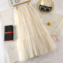skirt Summer 2021 Average size White, black, apricot, coffee, pink, bluish gray, white lined with velvet, pink lined with velvet, bluish gray lined with velvet longuette Versatile High waist Cake skirt Solid color Type A Ocnltiy Pleats, fungus, gauze