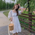 Women's large Summer 2021 White long blue long white short blue short S M L Dress singleton  commute Socket Short sleeve Solid color Korean version square neck have cash less than that is registered in the accounts puff sleeve Shengduo 18-24 years old 31% (inclusive) - 50% (inclusive) longuette