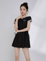 Split swimsuit Yiqixuan Black, customized deposit, pay attention to the screenshot of the store, give small gifts to customer service M,L,XL,XXL Skirt split swimsuit With chest pad without steel support Nylon, spandex, others female Crew neck