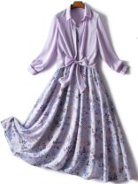 Dress Spring 2021 violet S,M,L,XL,XXL longuette Two piece set Long sleeves commute other High waist other Single breasted A-line skirt routine Others 35-39 years old Type X Muhe lady printing L3025 More than 95% other polyester fiber