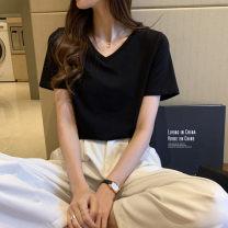 T-shirt S,M,L,XL,2XL Autumn 2020 Short sleeve V-neck Regular routine commute cotton 96% and above Korean version classic