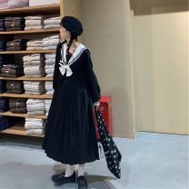 Women's large Winter 2020, autumn 2020 black M, l, XL, 2XL, 3XL, 4XL Dress singleton  Sweet Socket Long sleeves Solid color Admiral Three dimensional cutting routine longuette Pleated skirt college