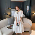 Dress Summer 2021 white S M L XL longuette singleton  Short sleeve commute Crew neck High waist Solid color Socket A-line skirt puff sleeve Others 18-24 years old Type A Kemizi Korean version Bow fold lace relief 81% (inclusive) - 90% (inclusive) polyester fiber