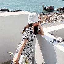 Dress Summer 2021 white S M L longuette singleton  Short sleeve commute square neck High waist Broken flowers Socket A-line skirt puff sleeve Others 18-24 years old Type X Kemizi Korean version Bow tie 81% (inclusive) - 90% (inclusive) cotton Cotton 90% polyester 10%