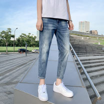 Jeans Youth fashion GXG JORGE 28,29,30,31,32,33,34 routine Micro bomb Ninth pants Travel? Cotton 77% polyester 22% polyurethane elastic fiber (spandex) 1% summer teenagers Medium low back Slim feet like a breath of fresh air 2020 Little straight foot zipper washing Cat whiskers, wash cotton