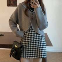 Fashion suit Spring 2021 S. M, l, average size Dark blue sweater 25098, light green sweater 25098, gray sweater 25098, black thousand bird check skirt 10695 18-25 years old 30% and below