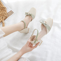 Sandals 34,35,36,37,38,39,40 Pink, apricot PU Other / other Baotou Square heel Middle heel (3-5cm) Spring 2021 Flat buckle Korean version Solid color Adhesive shoes Youth (18-40 years old) rubber daily Ankle strap Thick heel, hollow out, bow tie, shallow mouth Low Gang PU PU 126-8 Baotou sandals