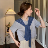 Scarf / silk scarf / Shawl Wool Spring and autumn, summer and winter female Shawl multi-function Korean version rectangle Student youth middle age Solid color Hollowing out 31% (inclusive) - 50% (inclusive) Nuo District PJ019 Spring 2021 no Off white gray Khaki blue yellow