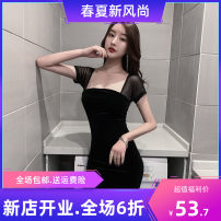 Dress Spring 2021 Black spot S trading is 85-100 kg, M is 100-110 kg, l is 110-120 kg, XL is 120-130 kg, 2XL is 130-140 kg, 3XL is 140-155 kg, 4XL is 155-170 kg Short skirt singleton  Short sleeve Backless, stitched, solid