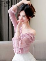 Lace / Chiffon Autumn of 2019 Pink [sling], black [skirt] S,M,L,XL,2XL Short sleeve commute Socket singleton  easy have cash less than that is registered in the accounts One word collar Solid color routine Ruffles, pleats, pleats, Auricularia auricula, stitching, three-dimensional decoration, lace