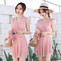 one piece  Other M [80-95 Jin], l [95-105 Jin], XL [105-120 Jin] Skirt one piece With chest pad without steel support polyester fiber 5B33D90C female Sleeveless Casual swimsuit Solid color